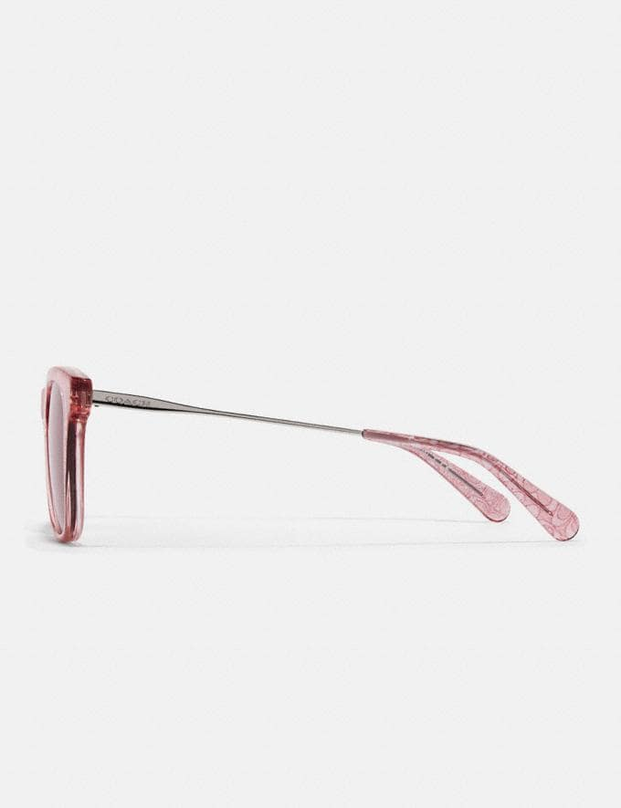 Coach Signature Glitter Metal Square Sunglasses Transparent Pink Women Accessories Eyewear Alternate View 3