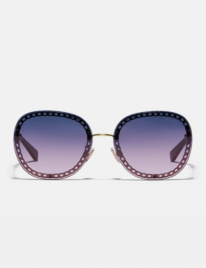 Coach Oversized Signature Chain Square Sunglasses Light Gold/Dark Brugundy Grad Women Accessories Eyewear Alternate View 2