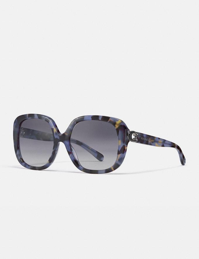 Coach Sculpted Signature Soft Square Sunglasses Blue Tortoise Women Accessories Eyewear