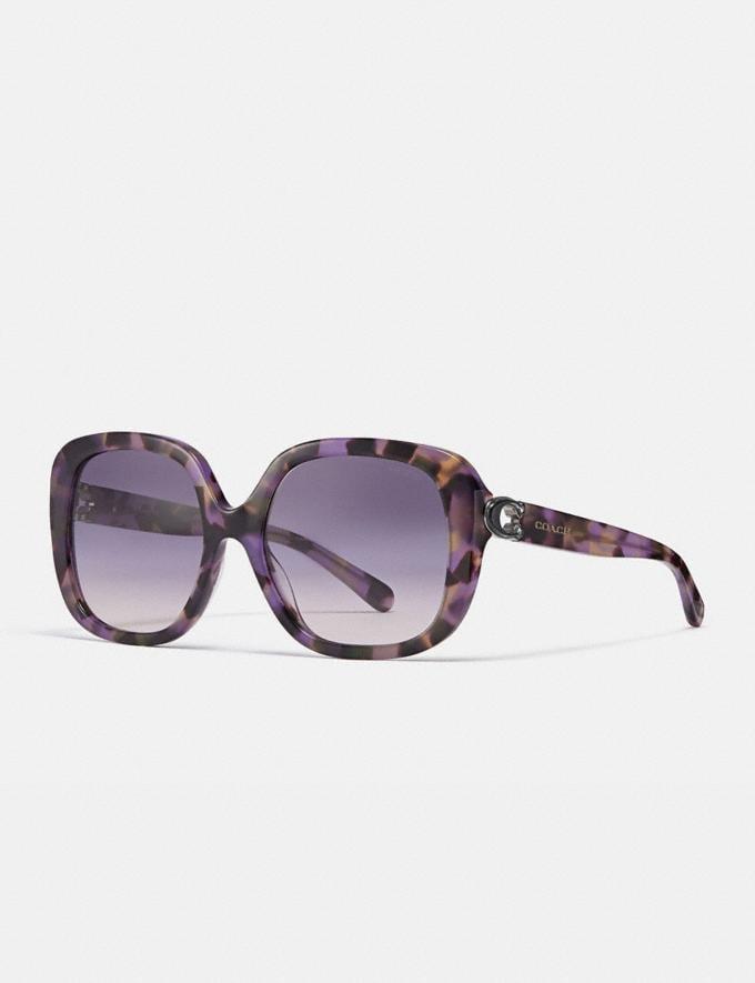 Coach Sculpted Signature Soft Square Sunglasses Lavender Tortoise Women Accessories Eyewear