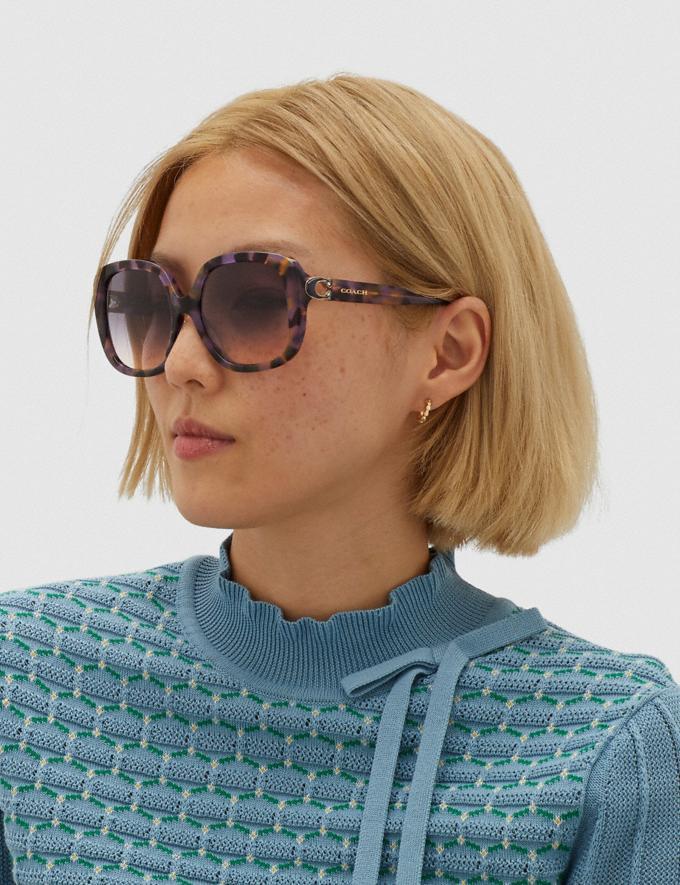 Coach Sculpted Signature Soft Square Sunglasses Lavender Tortoise Women Accessories Eyewear Alternate View 1