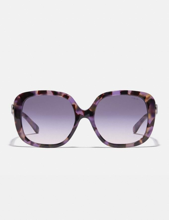 Coach Sculpted Signature Soft Square Sunglasses Lavender Tortoise Women Accessories Eyewear Alternate View 2