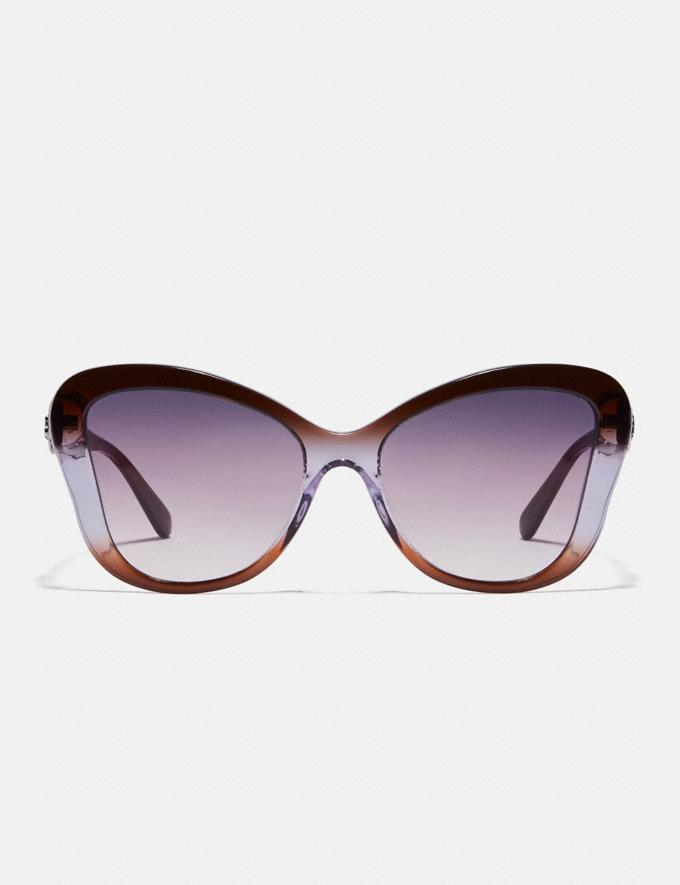 Coach Horse and Carriage Butterfly Sunglasses Brown Purple Gradient Women Accessories Eyewear Alternate View 2