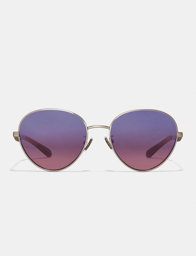 Coach Signature Chain Oval Sunglasses Light Gold/Blue Brugundy Grad Women Accessories Eyewear Alternate View 2