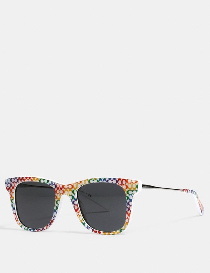 Coach Rainbow Metal Square Sunglasses Multi What's New Coach Pride
