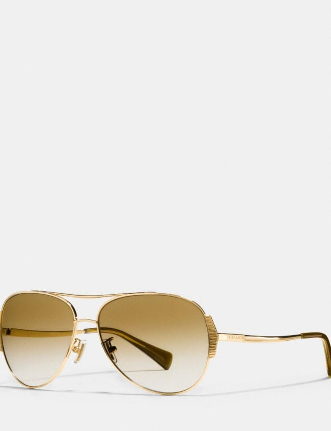 Coach Idol Pilot Sunglasses Gold/Milky Olive/Gold Mirror Gradient