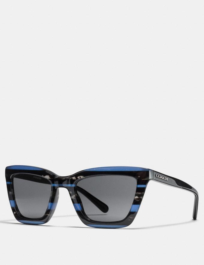 Coach Varsity Rectangle Sunglasses Blue Glitter Varsity Stripe Women Accessories Sunglasses