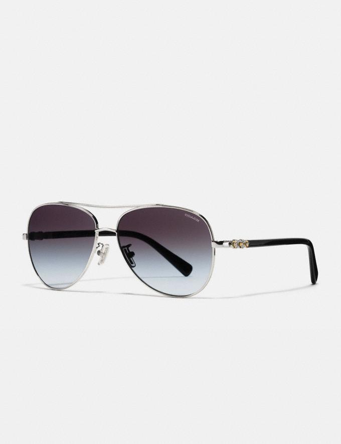 Coach Daisy Rivet Pilot Sunglasses Silver/Black New Featured Starry Nights