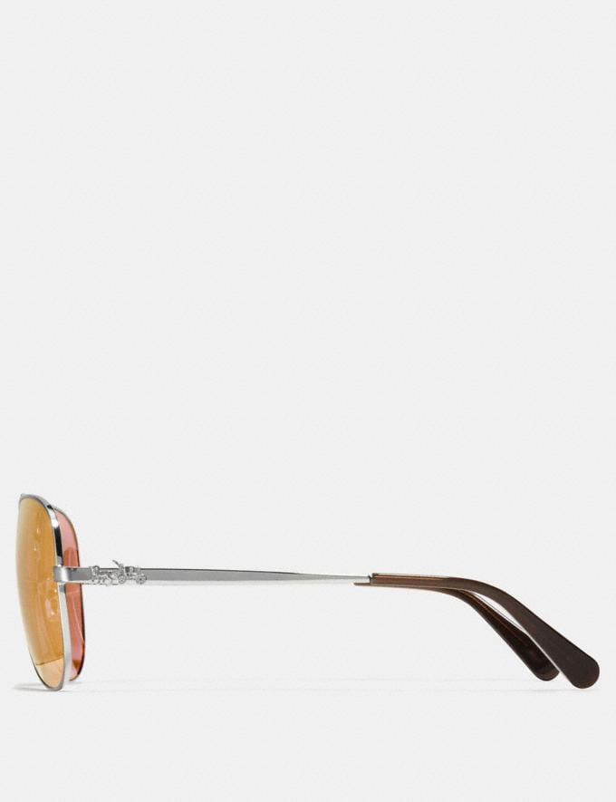 Coach Horse and Carriage Metal Pilot Sunglasses Light Gold Women Accessories Sunglasses Alternate View 2