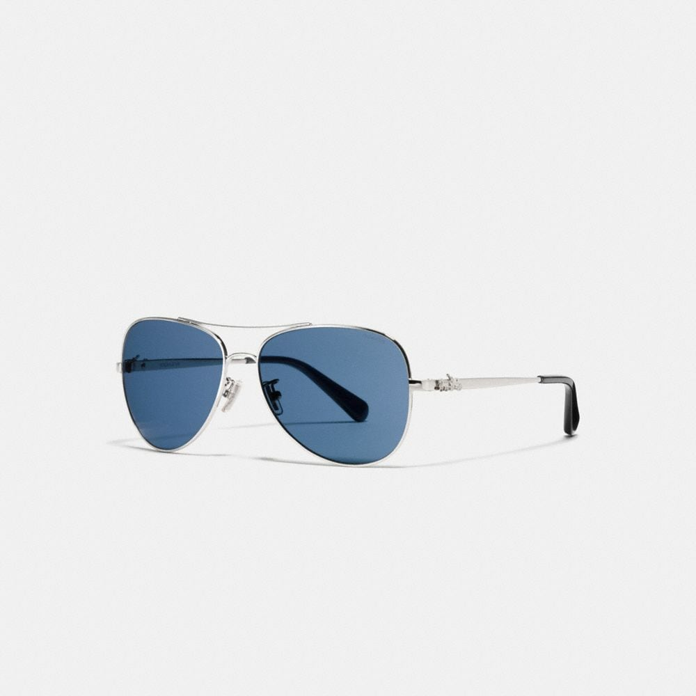 Coach Horse and Carriage Metal Pilot Sunglasses