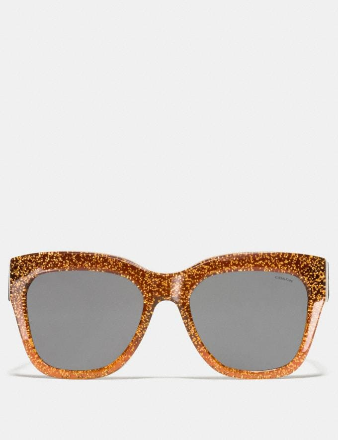 Coach Horse and Carriage Square Sunglasses Amber Saddle Glitter  Alternate View 1