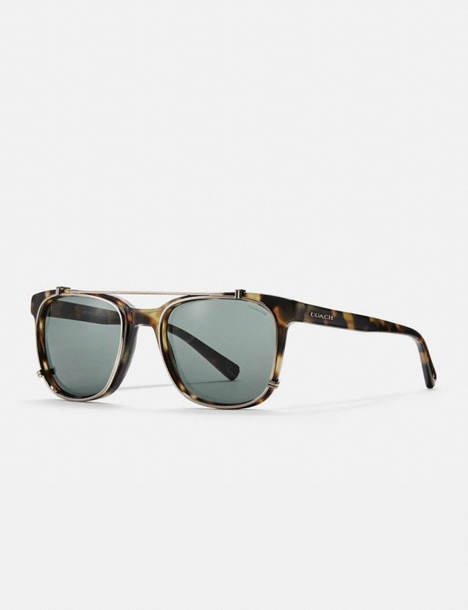 Coach Phantos Square Sunglasses Tokyo Tortoise/Green Solid Men Accessories Sunglasses