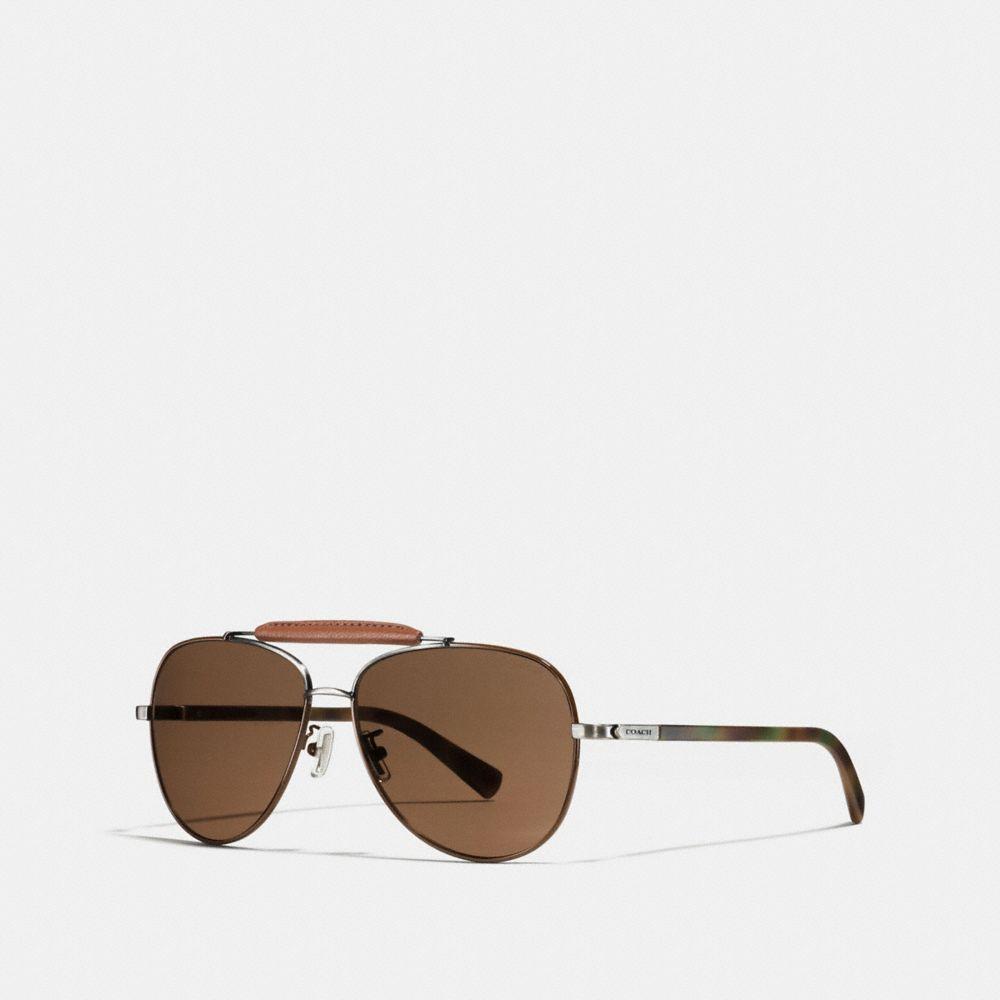 Leather Aviator Sunglasses
