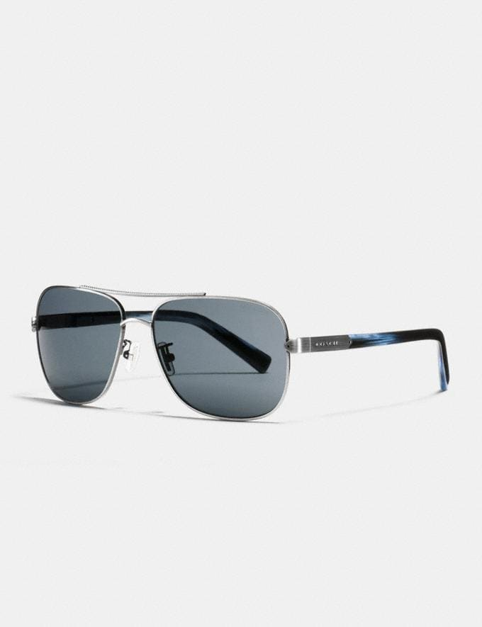 Coach Tag Temple Navigator Sunglasses Antique Silver/Blue Horn Men Accessories Sunglasses