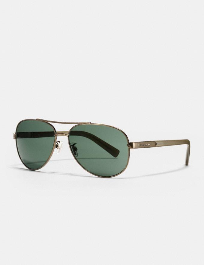 Coach Tag Temple Pilot Sunglasses Brass/Matte Olive Men Accessories Sunglasses