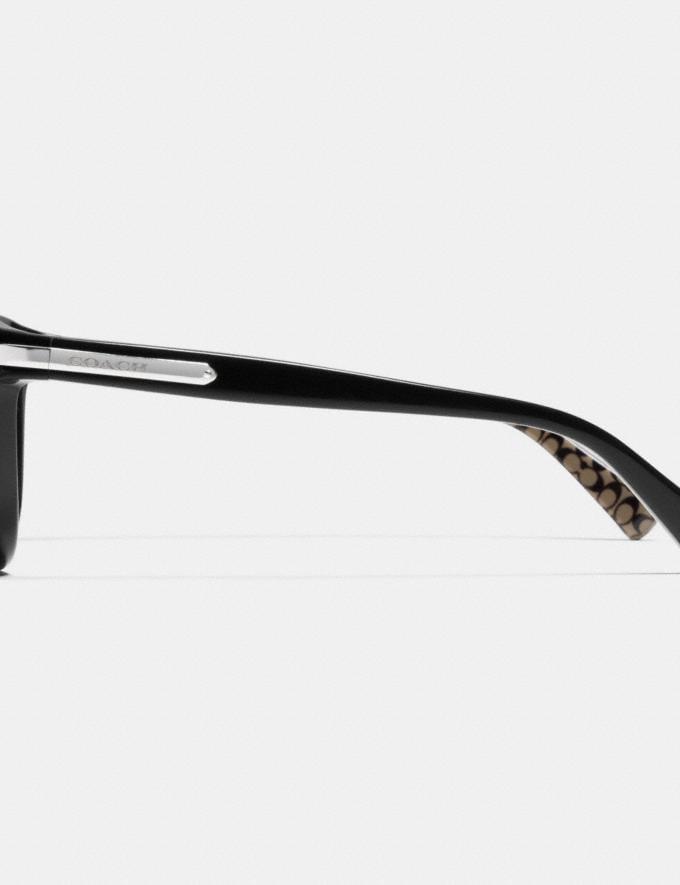 Coach Tag Temple Cat Eye Polarized Sunglasses Black/Black Military Sig C Women Accessories Sunglasses Alternate View 2