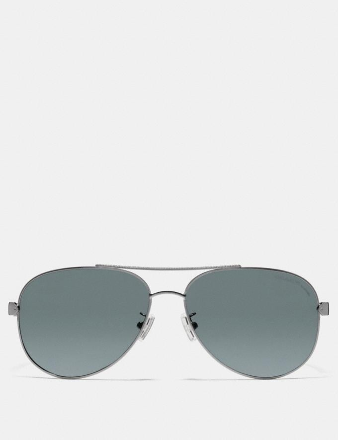 Coach Tag Temple Pilot Sunglasses Gunmetal/Grey Horn  Alternate View 1