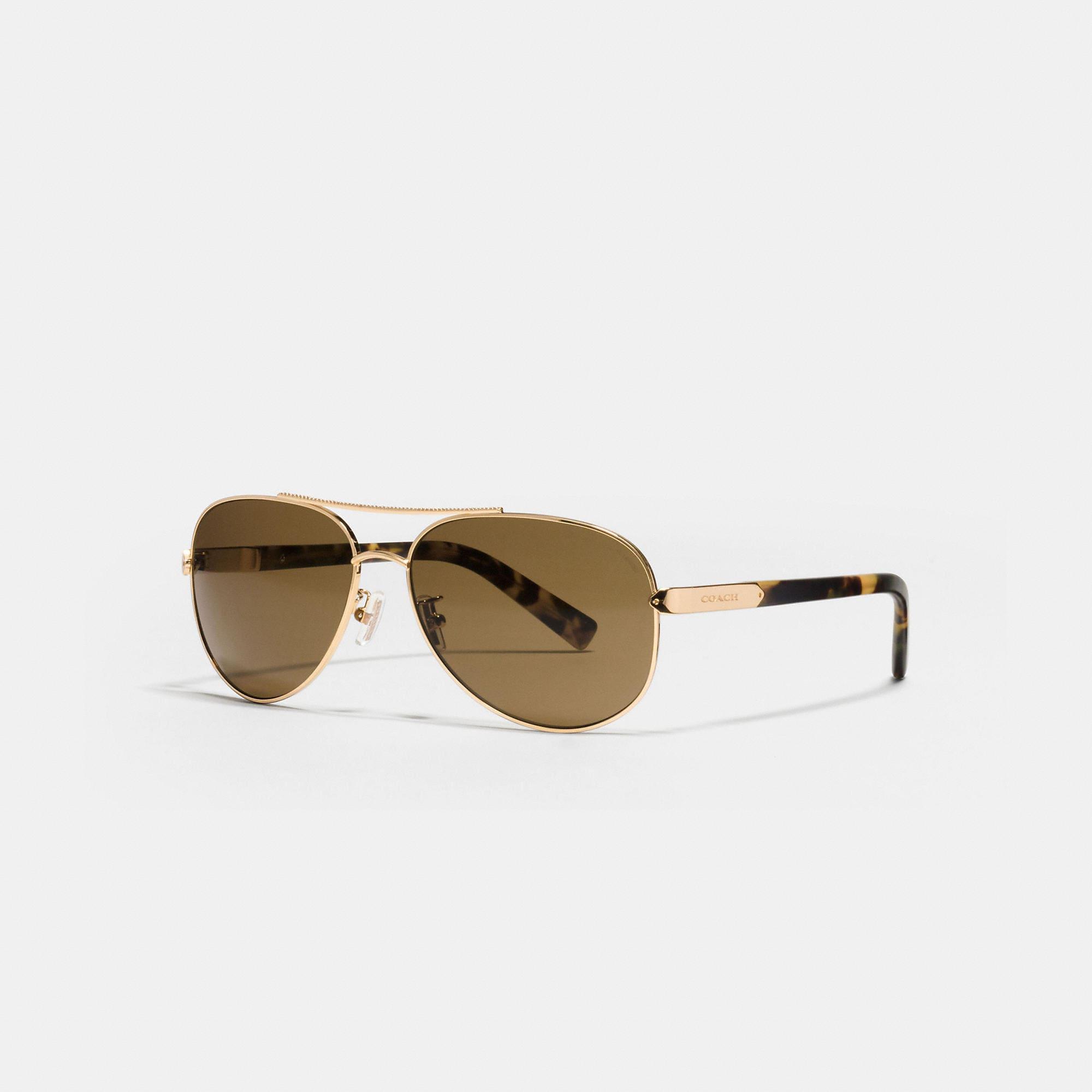 Coach Tag Temple Pilot Polarized Sunglasses