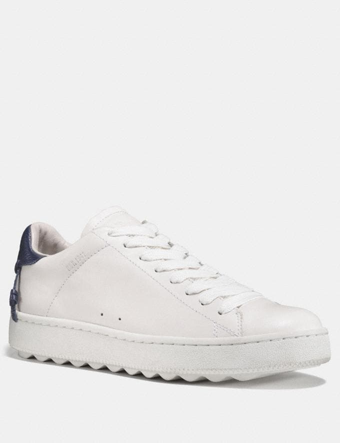 Coach C101 Low Top Sneaker White/Midnight Navy Women Shoes Sneakers