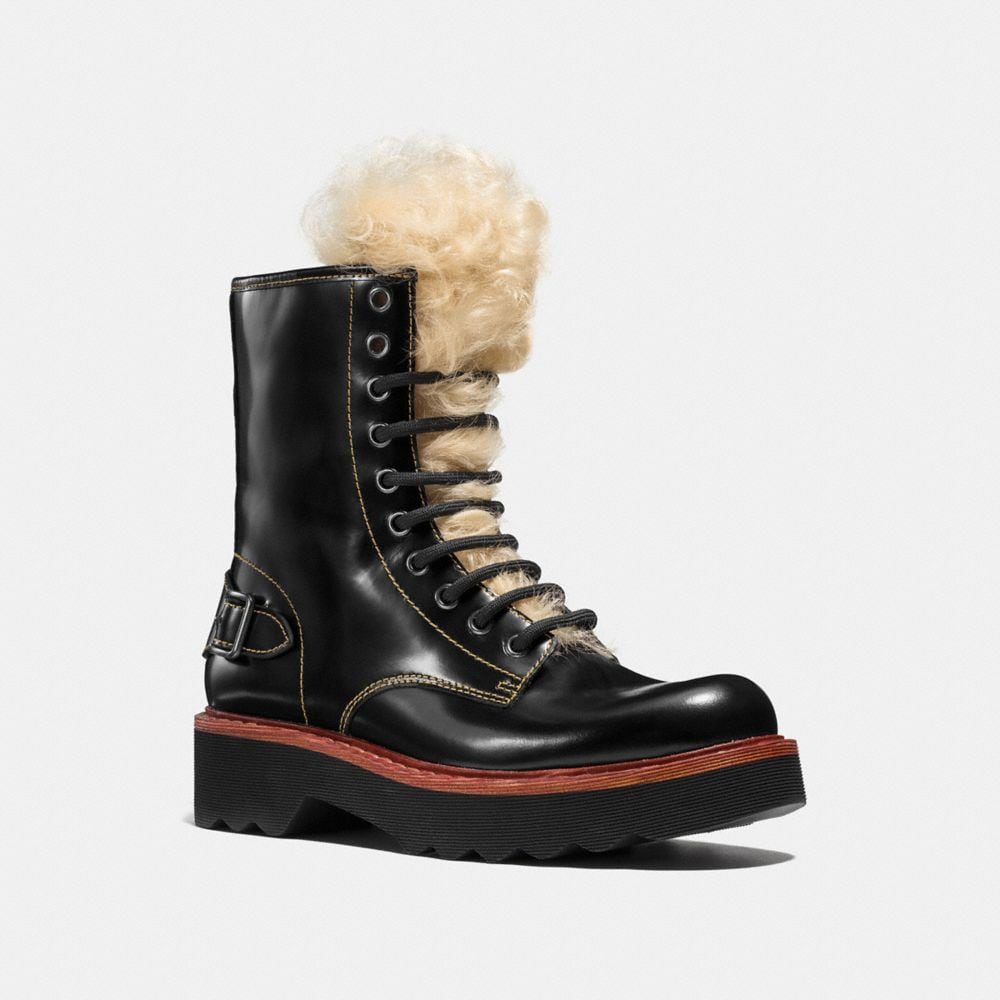 coach designer boots moto hiker boot with shearling
