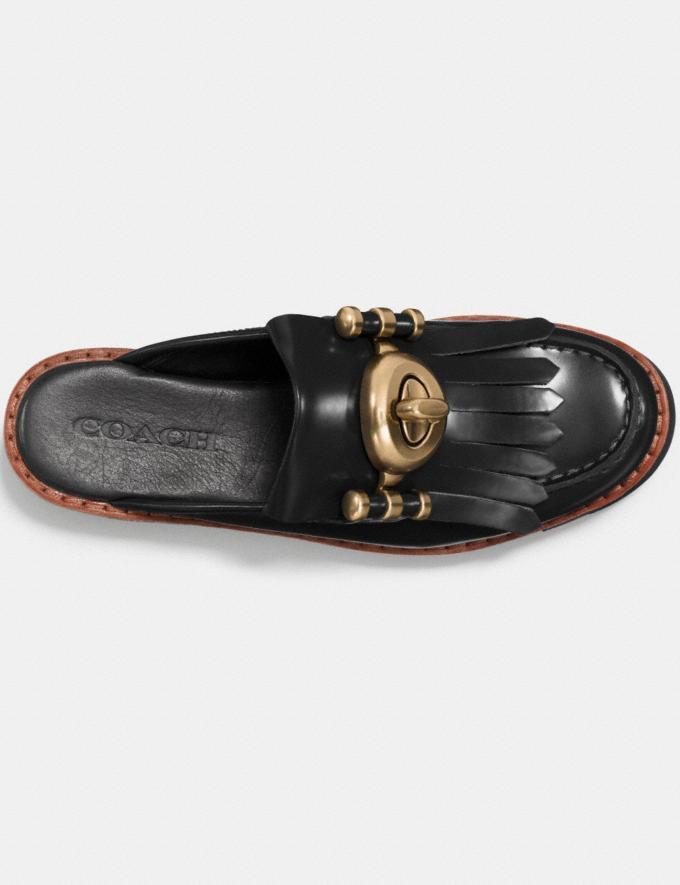 Coach Turnlock Creeper Slide Black Women Shoes Flats Alternate View 2