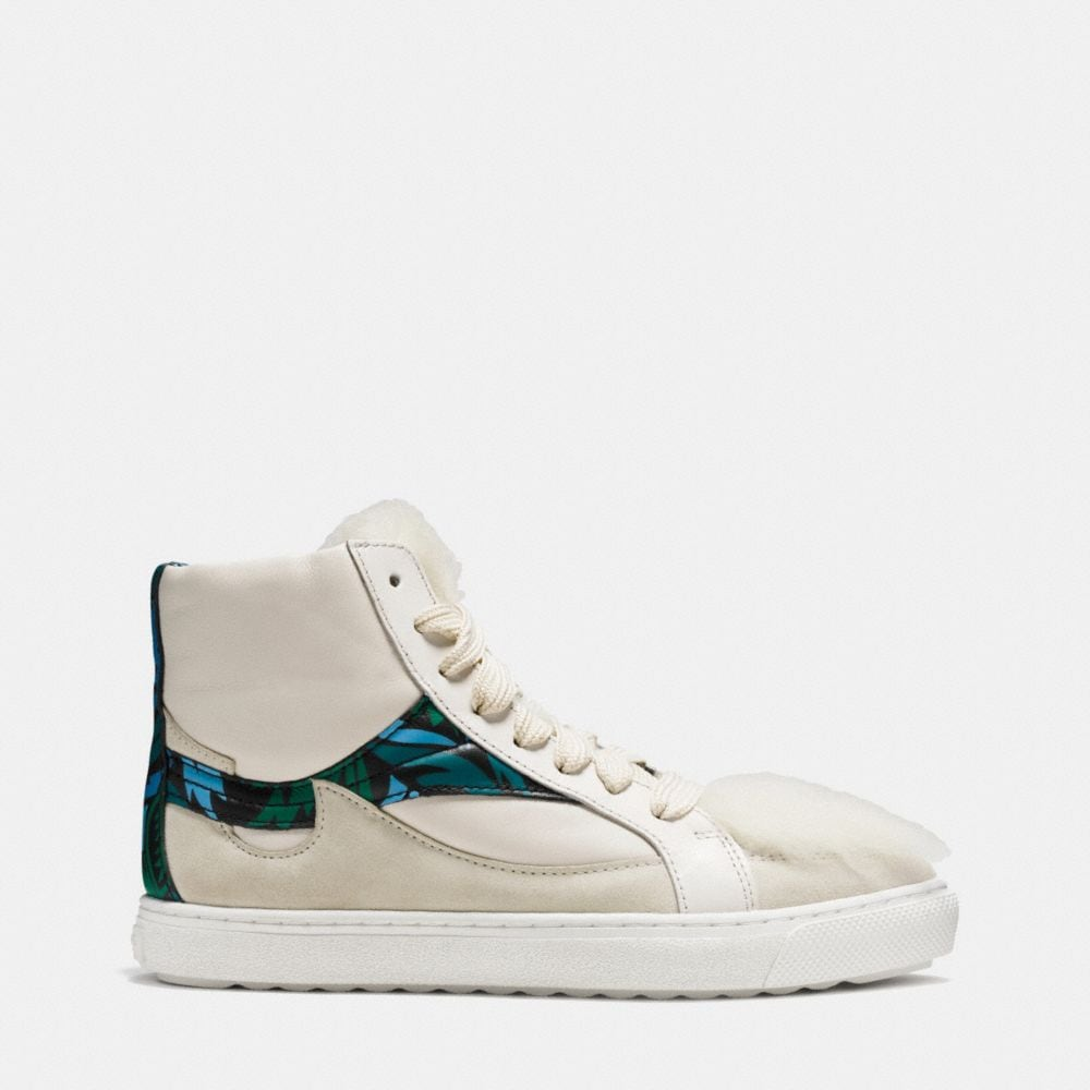 C203 Shearling Pointy Toe High Top Sneaker - Alternate View A1