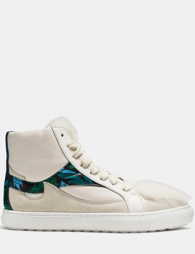 Coach C203 Shearling Pointy Toe High Top Sneaker Chalk/Chalk Women Shoes Sneakers Alternate View 1