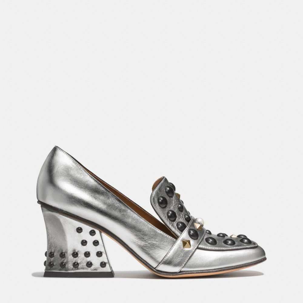 High Vamp Loafer With Studs - Alternate View A1