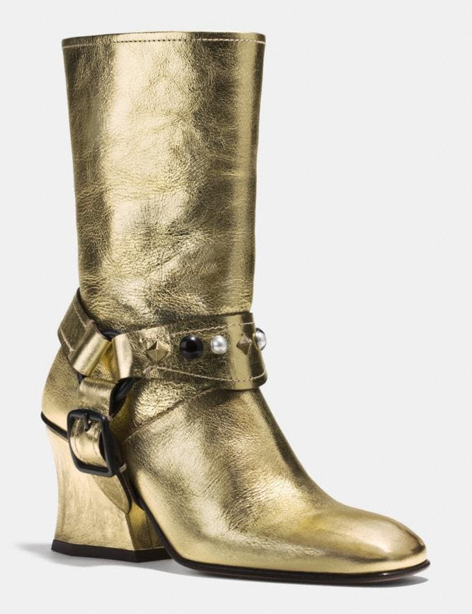Coach Harness Boot Gold Women Shoes Boots