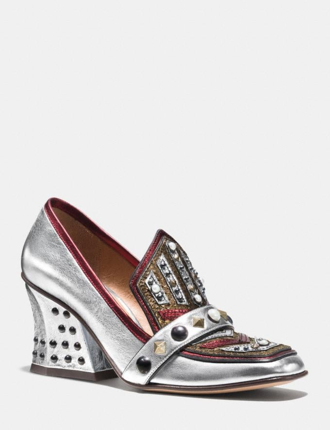 Coach High Vamp Loafer With Shield Silver/Red Women Shoes Heels