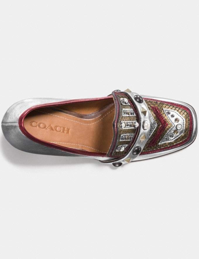 Coach High Vamp Loafer With Shield Silver/Red Women Shoes Heels Alternate View 2