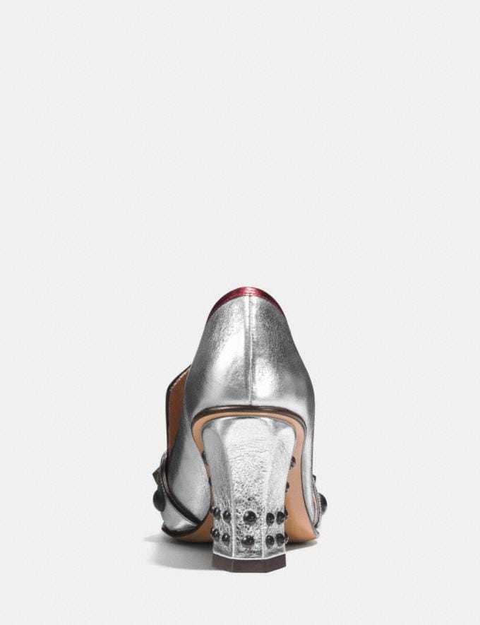 Coach High Vamp Loafer With Shield Silver/Red Women Shoes Heels Alternate View 3