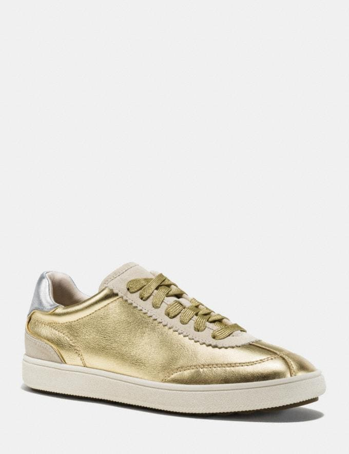 Coach C113 Lace Up Sneaker Gold/Silver Women Shoes Sneakers