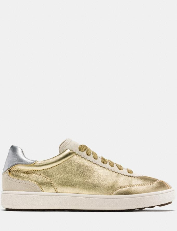 Coach C113 Lace Up Sneaker Gold/Silver Women Shoes Sneakers Alternate View 1