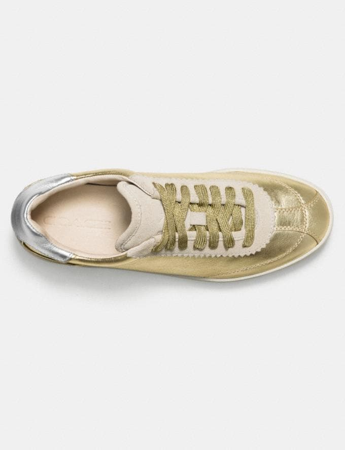Coach C113 Lace Up Sneaker Gold/Silver Women Shoes Sneakers Alternate View 2