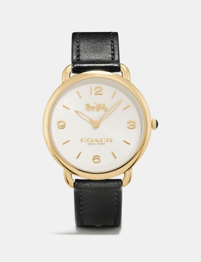 Coach Delancey Slim Watch, 36mm Black/Gold Gifts Featured