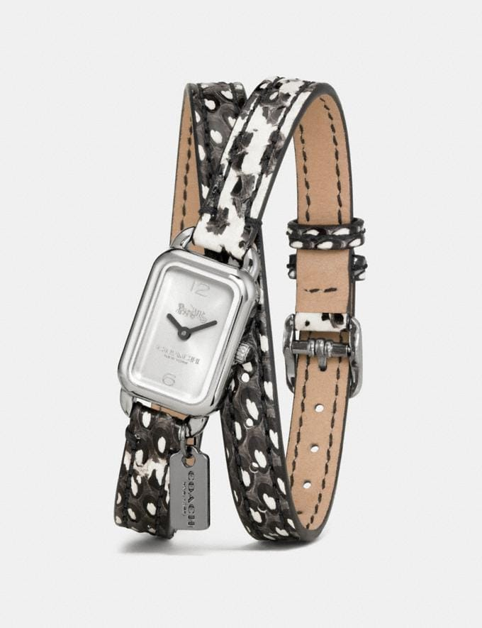 Coach Ludlow Double Wrap Watch With Charm, 17mm X 24mm Python Women Accessories Watches Alternate View 1