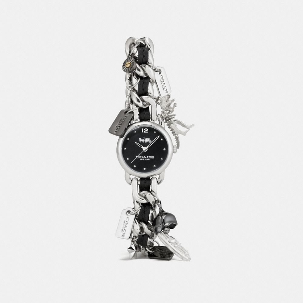 DELANCEY STAINLESS STEEL CHARM BRACELET WATCH