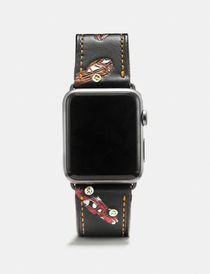 Coach Apple Watch® Strap With Car Print Black Multi Women Accessories Watches
