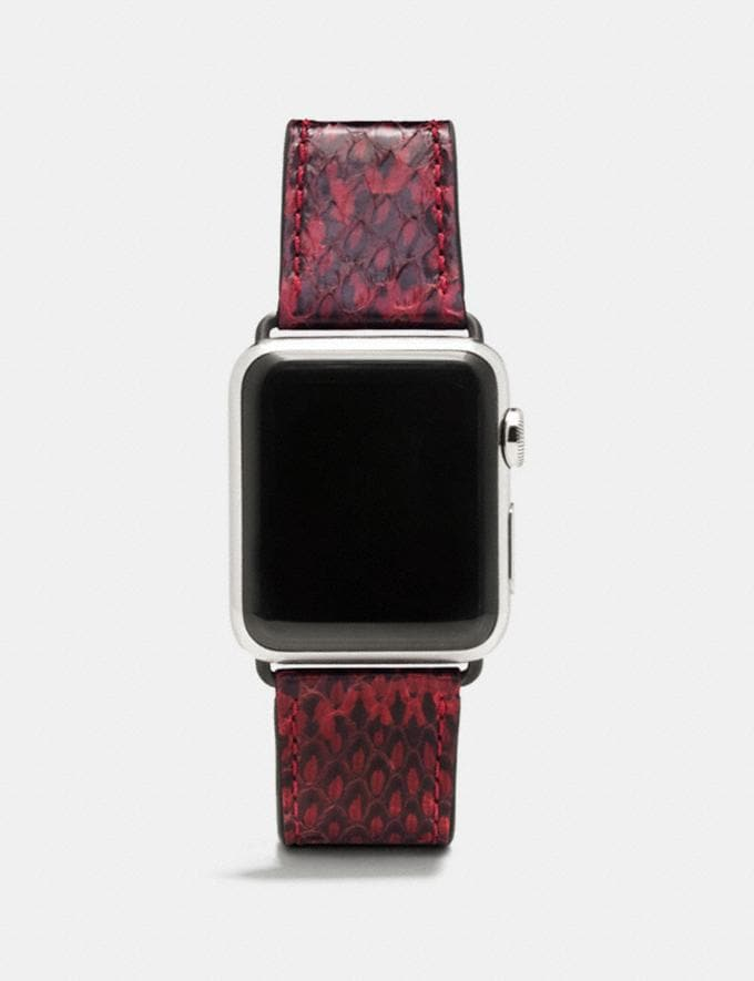 Coach Apple Watch® Strap in Snakeskin Bordeaux Women Accessories Watches