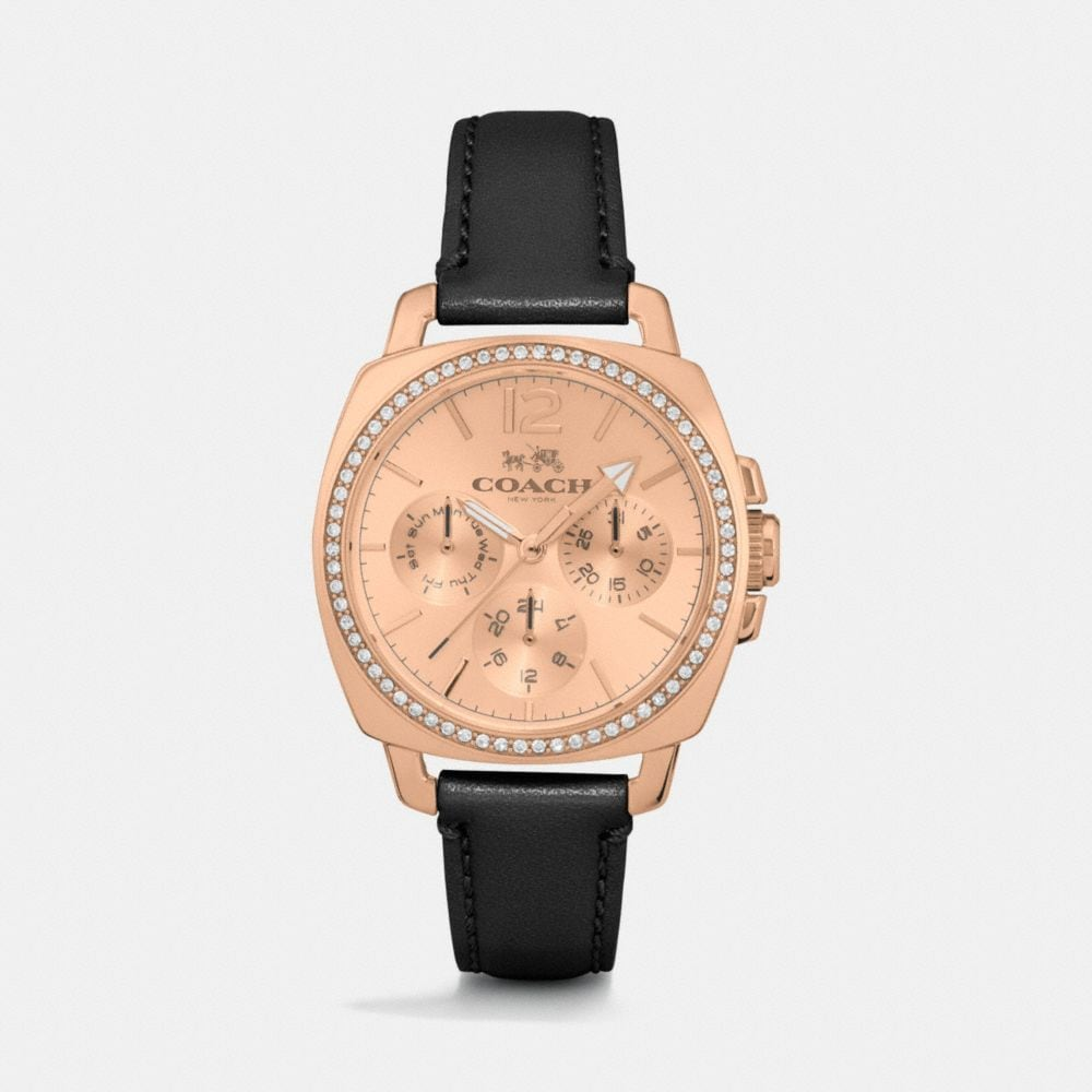 BOYFRIEND SMALL ROSE GOLD PLATED CRYSTAL STRAP WATCH