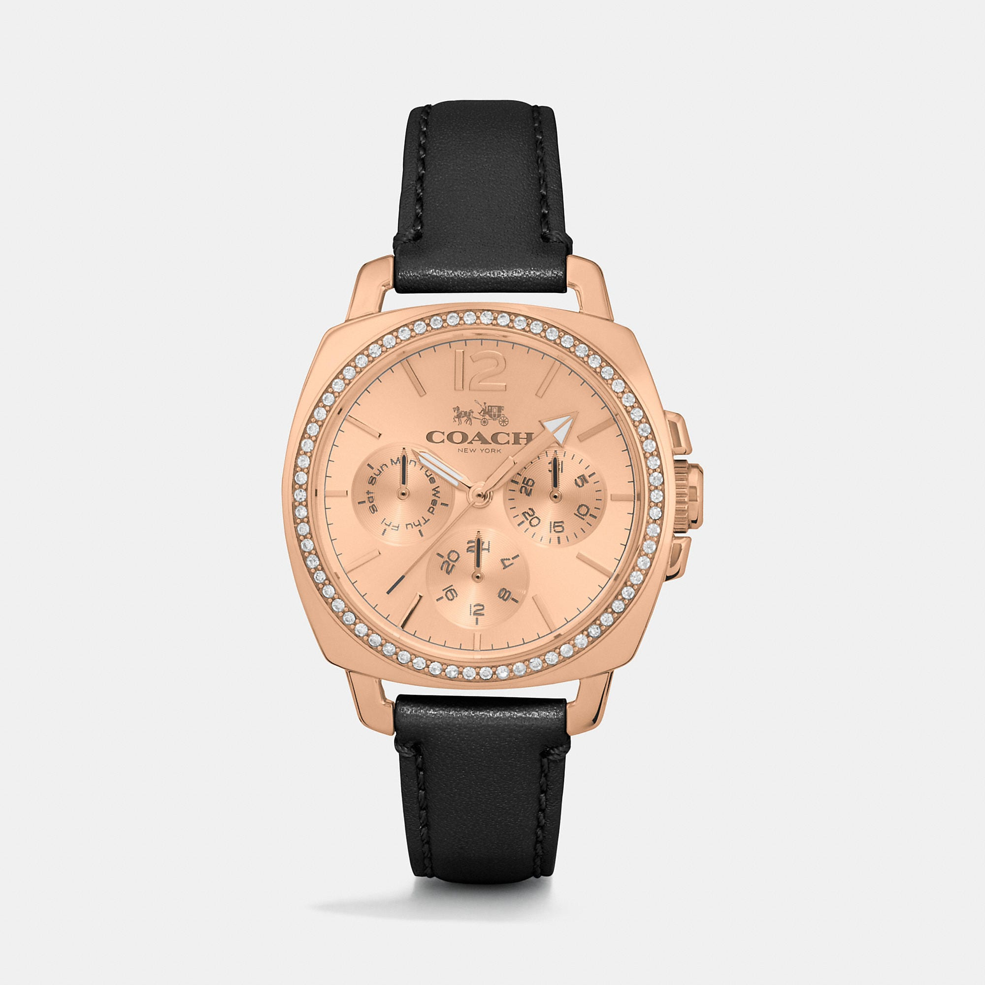 Coach Boyfriend Small Rose Gold Plated Crystal Strap Watch
