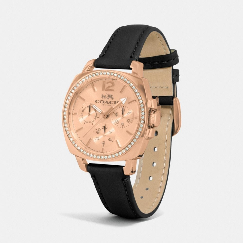 Boyfriend 34mm Rose Gold Plated Crystal Strap Watch - Alternate View A1