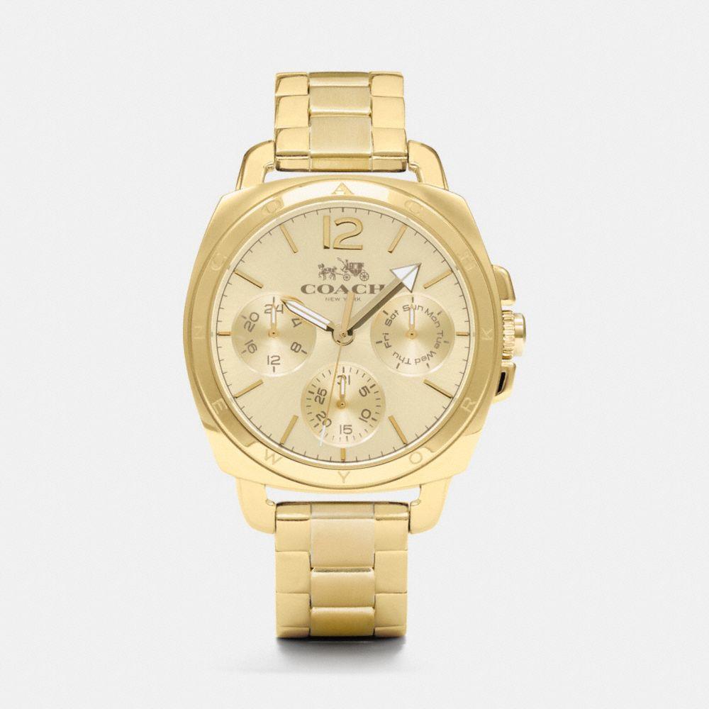 Boyfriend 38mm Gold Plated Multifunction Bracelet Watch