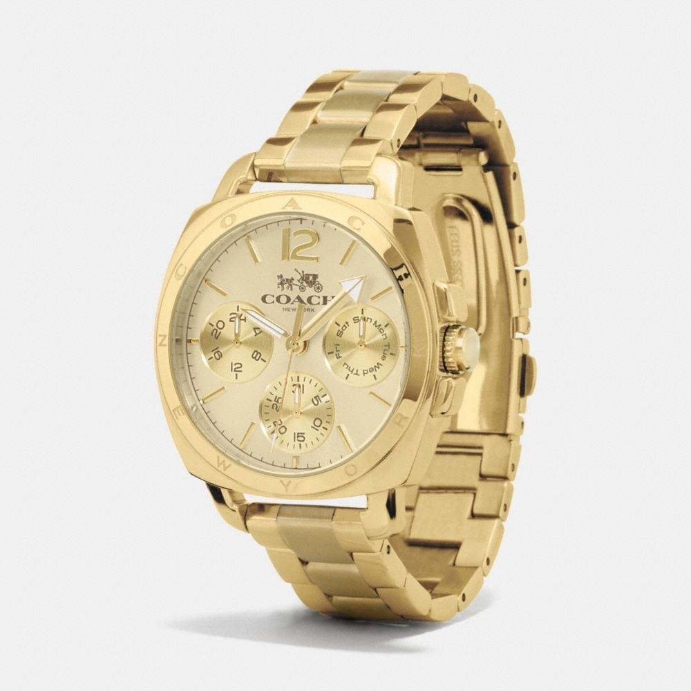 Boyfriend 38mm Gold Plated Multifunction Bracelet Watch - Alternate View A1