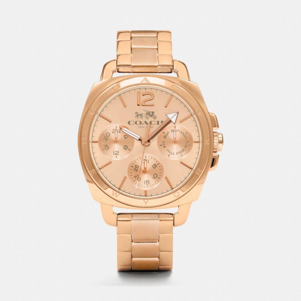 Boyfriend 38mm Rose Gold Plated Multifunction Bracelet Watch