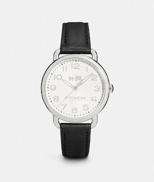 DELANCEY STAINLESS STEEL LEATHER STRAP WATCH