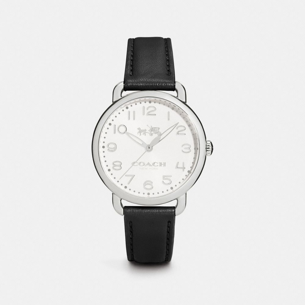 DELANCEY 36MM STAINLESS STEEL LEATHER STRAP WATCH