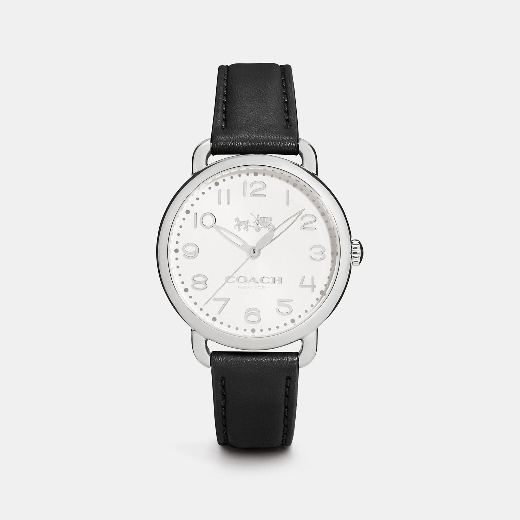 Coach Delancey Stainless Steel Leather Strap Watch
