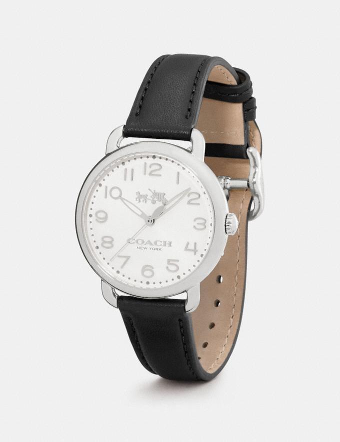 Coach Delancey Stainless Steel Leather Strap Watch Black Women Accessories Watches Alternate View 1